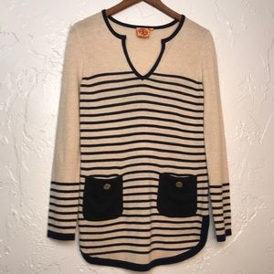 Tory Burch Stripe tan Black Sweater Top